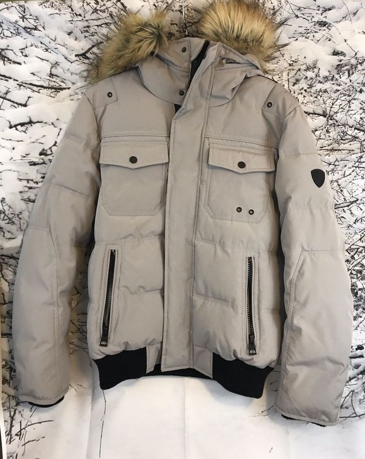 Guess Garth Bomber Gray Multi Faux Fur Zippered Puffer Jacket Size S/P #Guess #FlightBomber