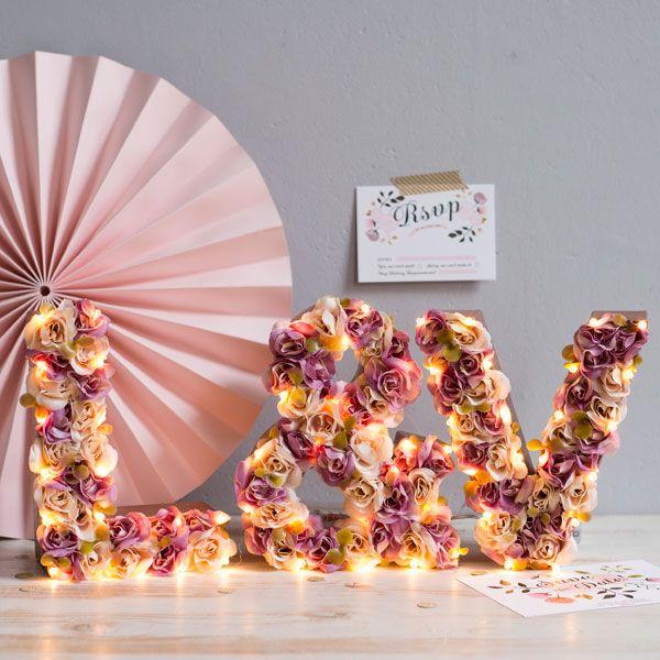 Handmade light up flower letters by The White Bulb