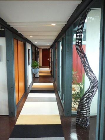 Upstairs hallway - Flor tile hallway runner