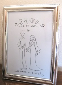Guest book sign.  Guest book = sketchbook.  Hand drawing of my husband and me!: Line Drawings, Guestbook Ideas, Guestbook Signs, Guest Books Tables, Hand Drawings, Books Signs, Books Ideas, Great Ideas, Hands Drawings