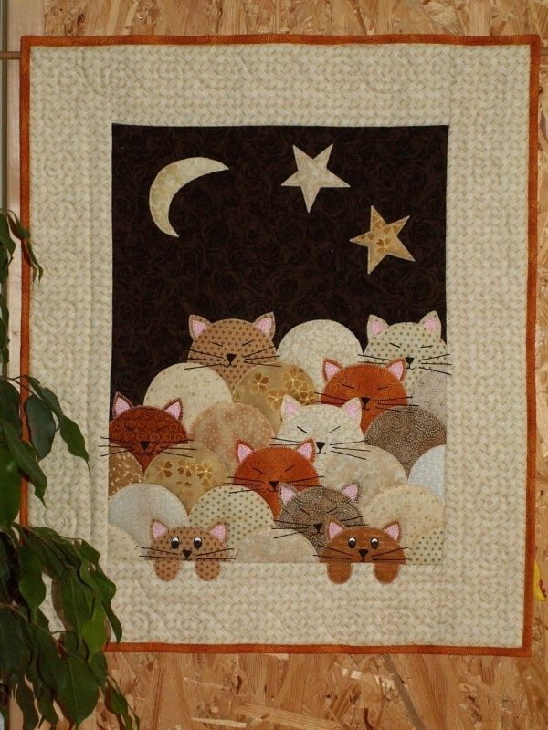 Cats In The Night Clamshell Quilt Cat Quilt Patterns