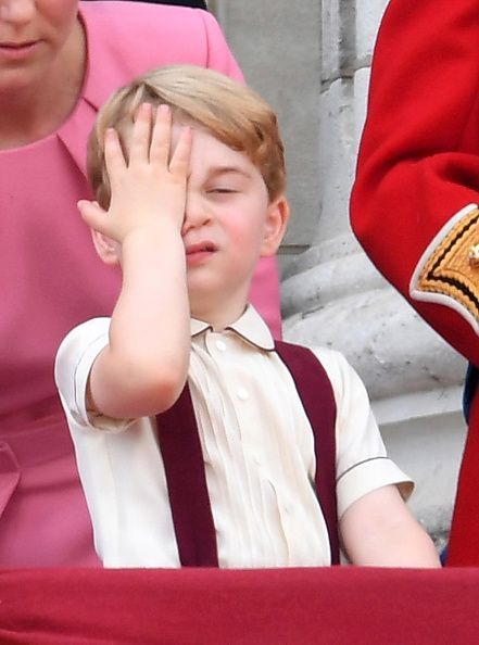 Prince George of Cambridge looks on from the balcony during the annual Trooping The Colour parade at the Mall on June 17, 2017 in London, England.