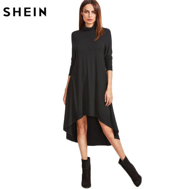 SHEIN Womens Dresses New Arrival Autumn Full Sleeve Dresses Black Cowl Neck Long Sleeve High Low Swing T-shirt Dress