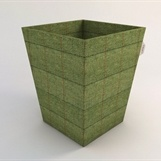Fabulous waste paper bin in Luxury Green Tweed - perfect for a study! Can add antique brass studs