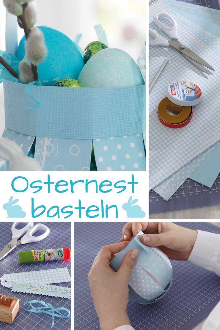 Über diese selbst gebastelte Begrüßung freut sich jeder Gast! Aus Papierstreifen kannst du das Osternest selbst basteln!  #ostern #osterdeko #osterhase #ostereier #basteln #bastelidee #bastelanleitung #diy #selbermachen