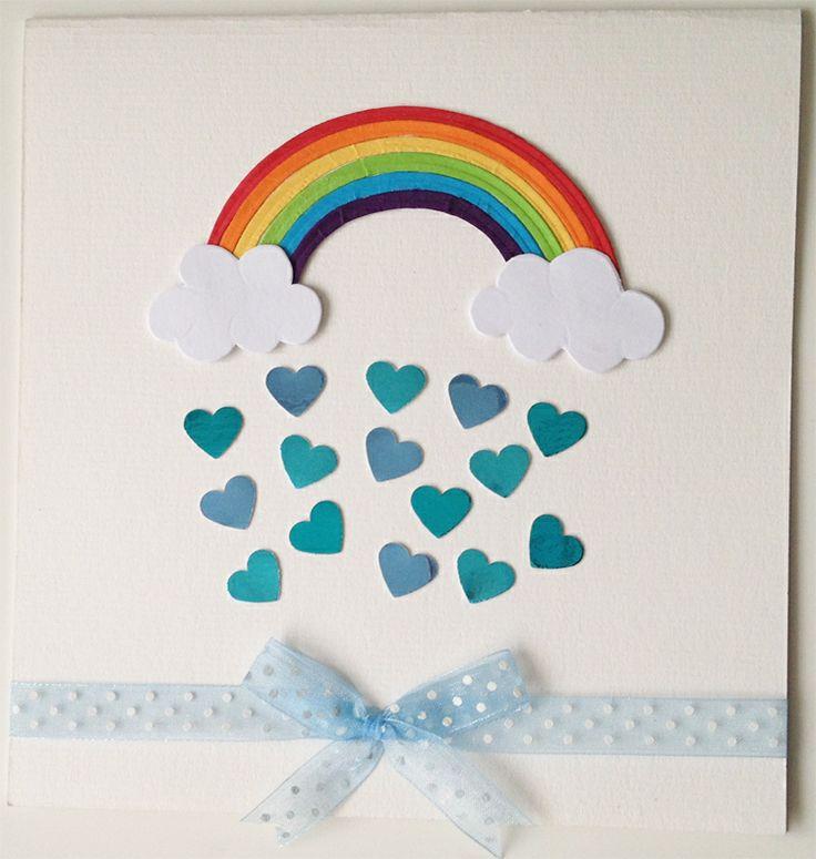 Rainbow Shower - Handmade Card