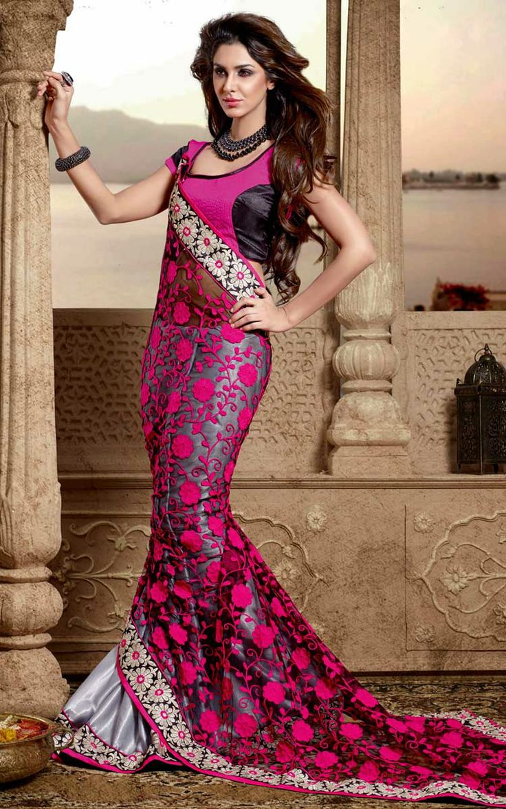 BLACK & SILVER CHIFFON EMBROIDERED SAREE - DIFF 28344