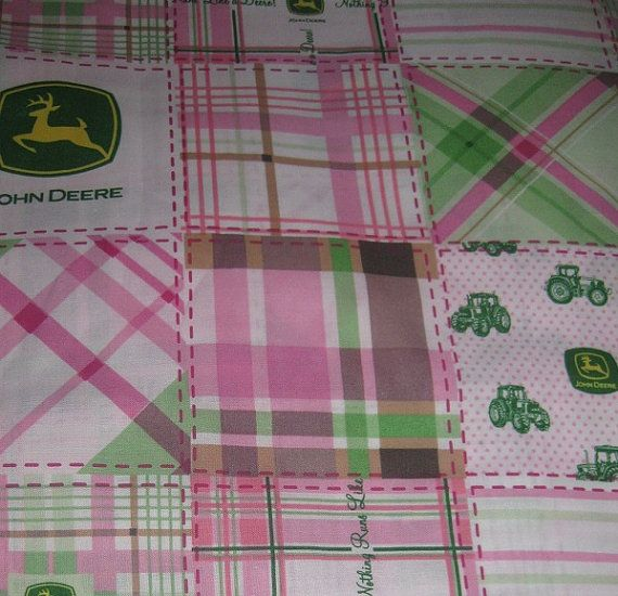 2 yards of pink John Deere Madras fabric by kittyglammed on Etsy, $17.00