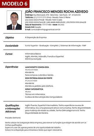 Modelo 6 - Gerador de Currículo Online Com Foto Grátis