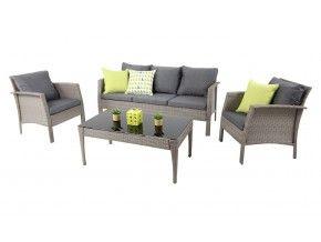 Arora-3 4pc Sofa Set Grey-Charcoa
