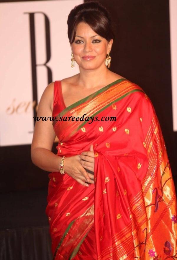mahima choudhary in red kanchipuram silk saree. Beautiful mature lady . . .