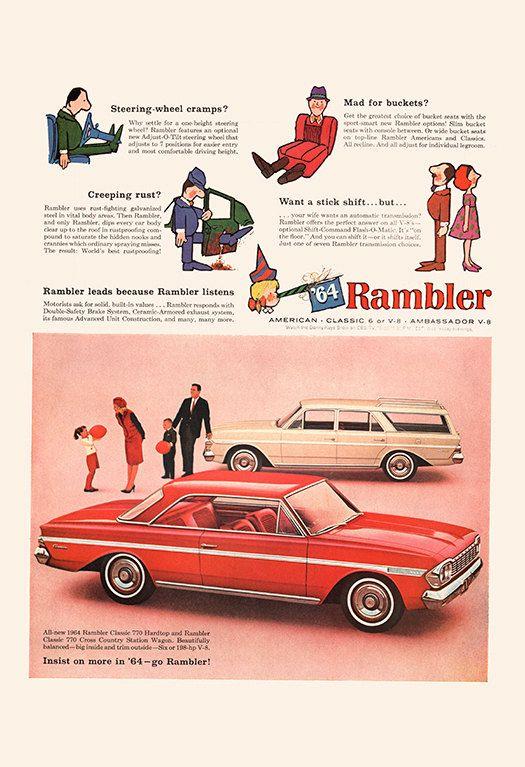 VINTAGE AMC RAMBLER Car Ad Retro Car Ad by EncorePrintSociety