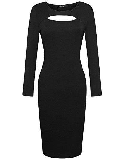 OUGES Womens Long Sleeve Unique Key-Hole Bodycon Dress