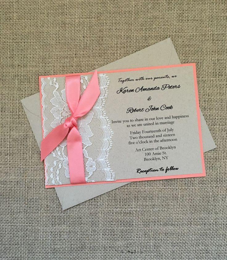 Coral rustic wedding invitation lace by RusticInvitesAndmore
