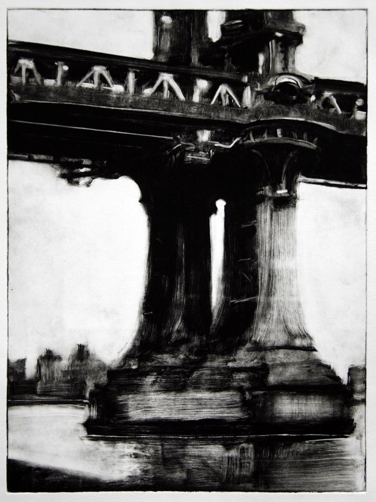 "Manhattan Bridge Monotype  Magsig  Original Monotype print on Rives heavyweight Paper  2011, image is 12x9"""