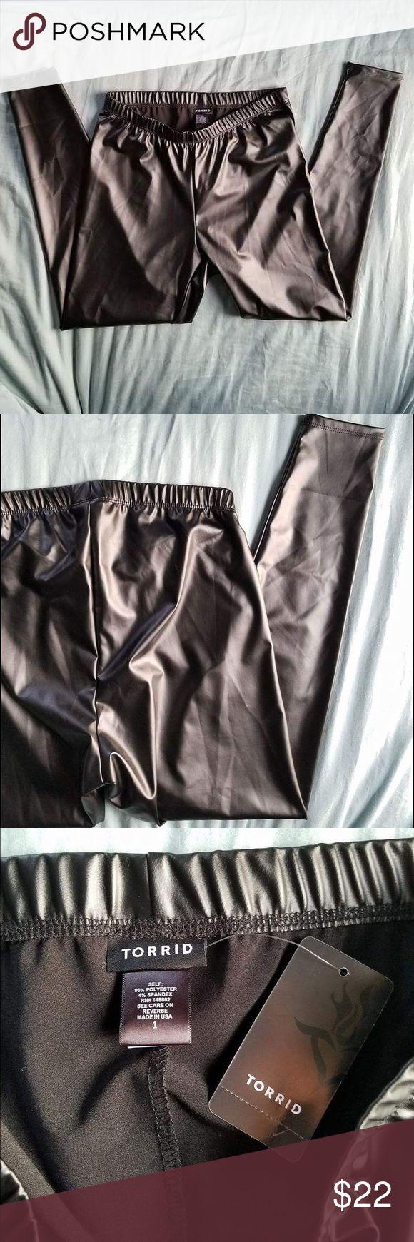 "Black wet look leggings Comfortable inside, sleek wet look on the outside. Torrid size ""1"" translates to XL torrid Pants Leggings"