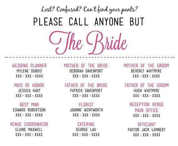 Wedding phone number list is a good idea for reducing stress for the Bride and Groom! #wedding #weddingplans