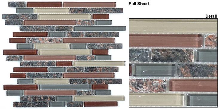 Mosaic prices are quoted per sheet.Bold and beautiful glass tiles with granite insets. A design that will look flawless on your kitchen backsplash or as decor