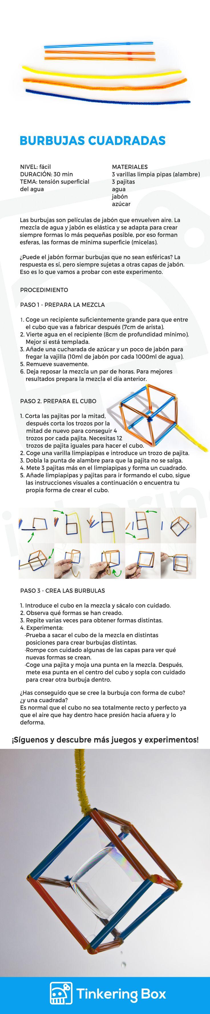 Las burbujas fascinan tanto a niños como a adultos con sus formas y colores. Conociendo cómo funcionan las burbujas se pueden crear formas geométricas alucinantes. Experimenta, diviértete y aprende con este experimento sencillo. DIY.