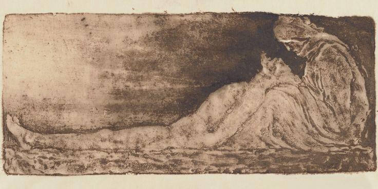 Pietà. Estampe. Gypsographie.  Art by Pierre Roche.(1855-1922). Graveur.