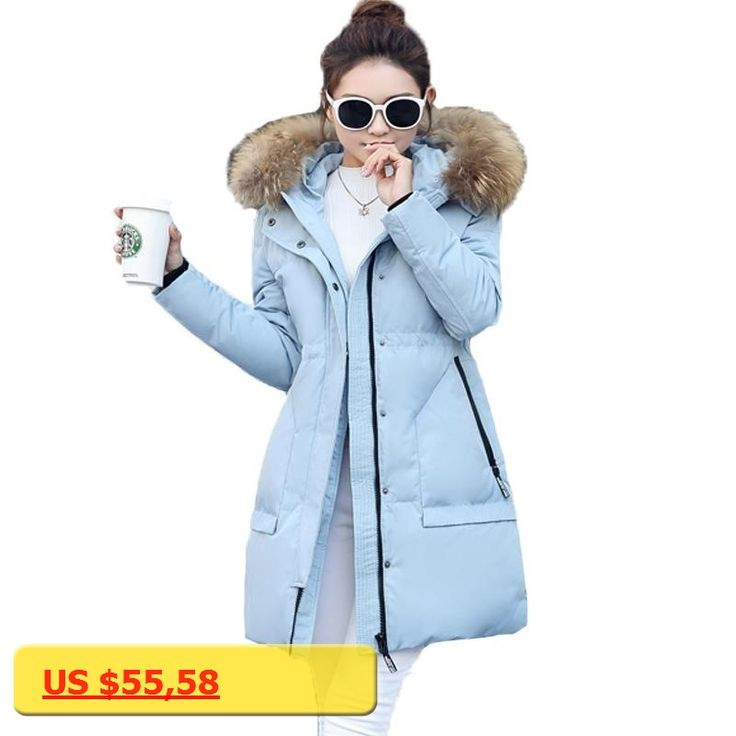 New Women Padded Jacket 2017 Winter Solid Faux Fur Collar Hooded Long Seeve Thick Silm Medium-long Quilted Coats Casaca De Mujer