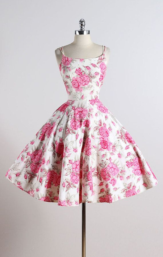 MAGGIE STOVER ➳ vintage 1950s dress * white textured cotton * cotton lining * beautiful pink rose print * rhinestone accents * metal back zipper * by Maggi