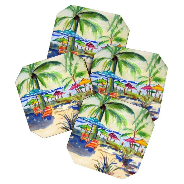Caribbean Time Coaster Set of four satin finish fiberboard coasters. Coaster sets are perfect for Thank You, Wedding, Birthday or Anything Gifts!