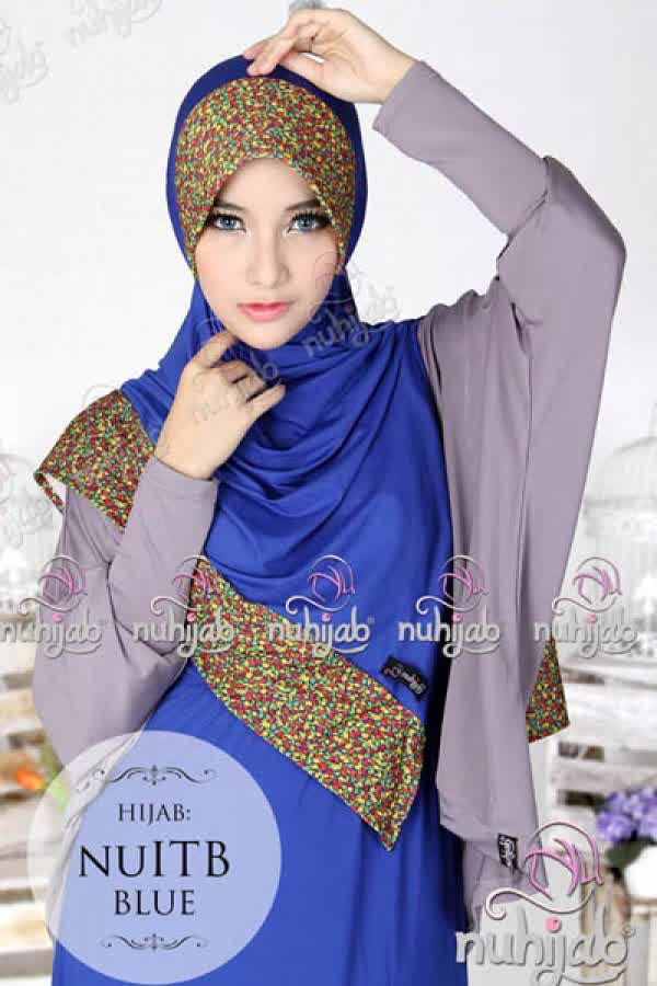 Nuhijab Nu Itb - Blue Rp. 95.000 Bahan: High Quality Spandex Jersey Polca Order sms/wa 082328384495