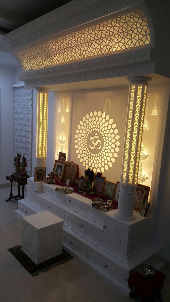 Acrylic Solid Surface Mandir Korean Pooja Room Design
