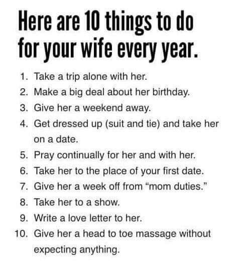 10 things to do for your wife every year....