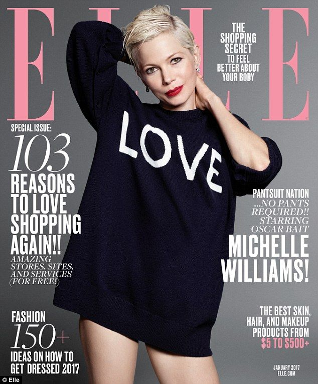Blonde bombshell: Michelle Williams bared her thighs in chic winter-wear for the Samira Nasr-styled, Terry Tsiolis-shot spread in ELLE's January edition