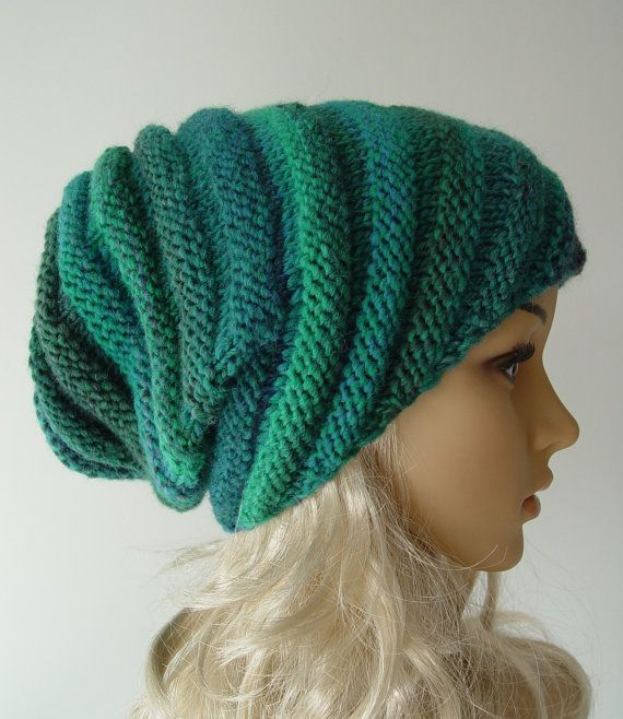 Knitted Snail hat: green variations