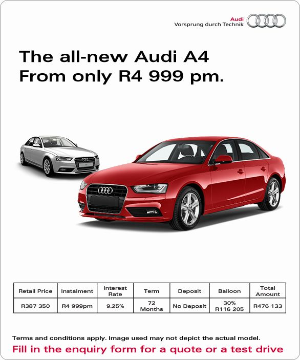 Purchase The New Audi A4 From R4 999 Pm, And Pay 0