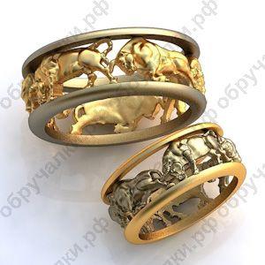 $760 за оба 53000 руб Необычные золотые обручальные кольца с быками изготовление на заказ