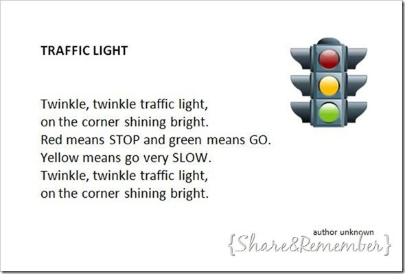 Traffic Light Puppet and Song Card