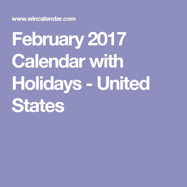 February 2017 Calendar with Holidays - United States
