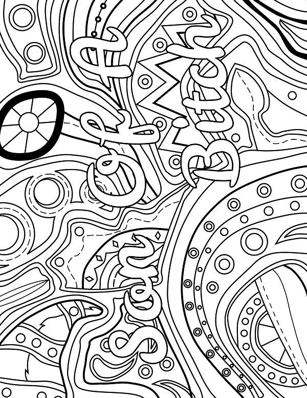 abstract coloring pages with words | Abstract - Adult Coloring page - swear. 14 FREE printable ...