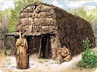 les Hurons-Wendat venus s'installer dans la région de Québec en1650.Le nom de Huron leur a été donné par les Européens du fait de leur coiffe en forme de hure, tandis que Wendat, «les gens de l'île»,est le nom sous lequel ils se sont toujours désignés en référence à leurs origines.