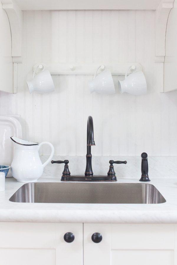 White Beadboard Backsplash White Carrara Laminate Countertop