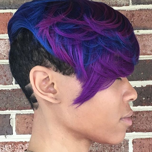 STYLIST FEATURE  Bold moves on this #pixie ✂️ styled by #dmvstylist @thelawofhair on @cateleya._  Dope color combo and undercut #voiceofhair  ========================== Go to VoiceOfHair.com ========================= Find hairstyles and hair tips! =========================