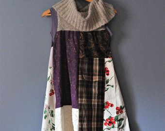 Upcycled Sweater Cowl Neck Patchwork Tunic Dress. Made from Upcycled textiles, sweater, and vintage table cloth.