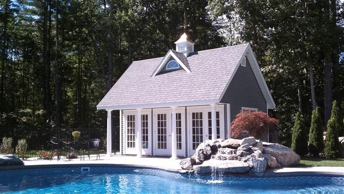 Reeds ferry sheds specialty buildings poolside cabana for Pool house shed ideas
