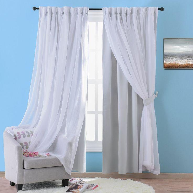 Nicetown Stylish Mix & Match Elegance White Crushed Voile x Blackout Curtain Panel With Bonus Tie-backs for Villa / Apartment (Single Set, W52 x L84 inch, Platinum)