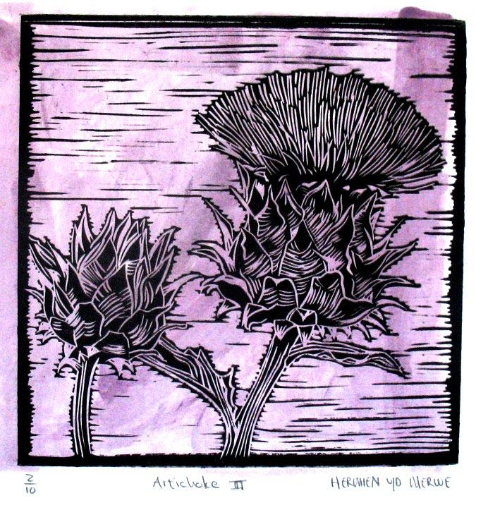 Title: Artichoke III (Light Purple) Medium: Linotype Edition: 2/10 Size: 200 x 200mm Artists thoughts: Artichokes are wholesome food with deeper symbolic meaning to me. The vegetable needs to be cooked well to be enjoyed. The hard outer layers need to be peeled away to get to the heart of the artichoke. God also peeles away our outer layers to get to our heart – He is interested in our hearts.