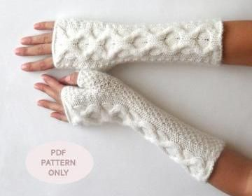 Knit Fingerless Mittens Cable Finge..