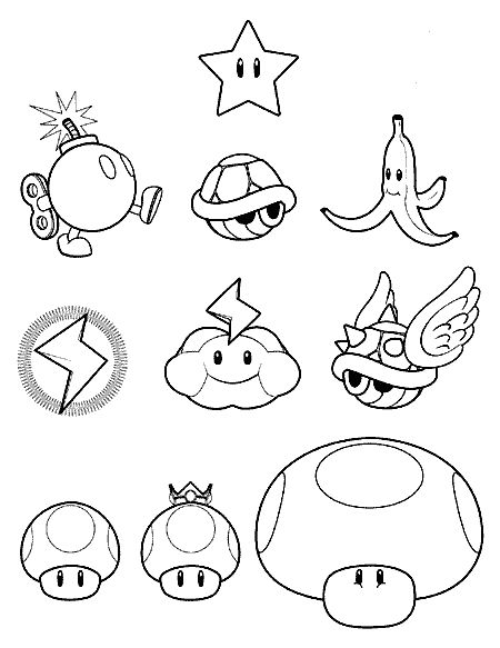 Mario Kart Items Coloring Pages