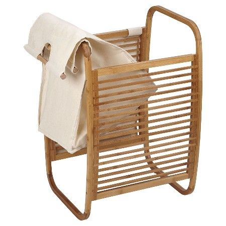 Household Essentials® Bowed Bamboo Laundry Hamper with Lid - Natural : Target