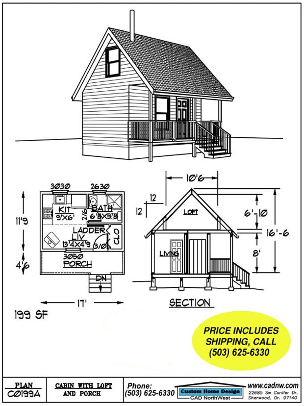 This 199 s f 11 39 9 39 39 by 17 39 cabin with sleeping loft is for Sleeping cabin plans
