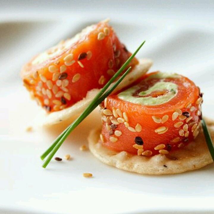 Avocado and salmon rolls