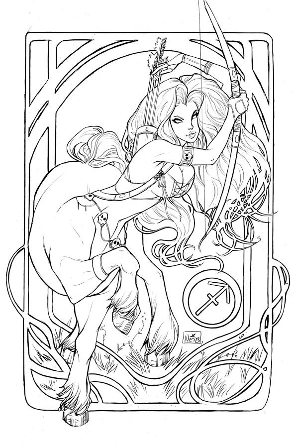 lady death sagittarius sketch ladydeath cover artist nei ruffino coloring for adultsadult coloring pagescoloring